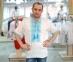 Вышиванка мужская короткий рукав белая с синей вышивкой 2001 0