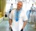 Вышиванка мужская короткий рукав Гетьман белая с синей вышивкой 2005 0