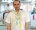 Вышиванка мужская короткий рукав белая с желто-голубой вышивкой 2004 1