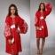 Платье Дерево жизни 1525 красный лен с белой вышивкой 0