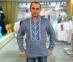 Вышиванка мужская джинс с сине-белой вышивкой 2004.1 0