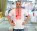 Вышиванка мужская короткий рукав белая с красной вышивкой 2001 1