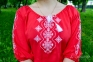 Вышитая блуза женская штапель красная с белой вышивкой 1022 2