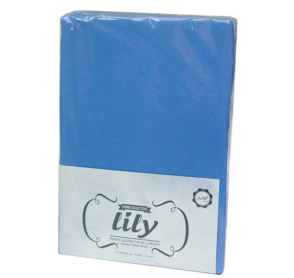862924af8b03 Простынь на резинке с наволочками ТМ Acelya Lily трикотажная Blue 160х200  ...