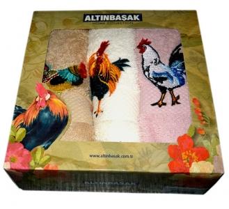 Набор кухонных махровых полотенец из 3 штук Altinbasak петух horoz b-e-p