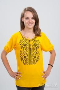 Женская вышиванка Волна жёлтая с чёрным 1012