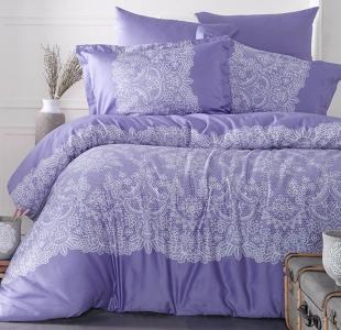 Постельное белье ТМ Clasy сатин Renda фиолетовый евро-размер
