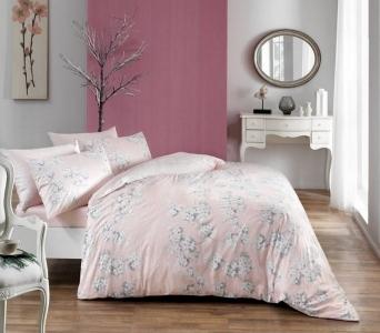 Постельное белье ТМ TAC сатин Flora Pink евро-размер
