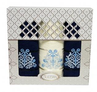 Набор полотенец из хлопка ТМ Gulcan 3 шт Cotton Venz синий