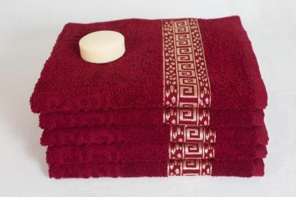 Махровое полотенце с золотым бордюром Узбекистан 450г/м2 вишнёвое
