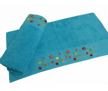 Полотенце с вышивкой ТМ Altinbasak Delux Emma голубое 70х140