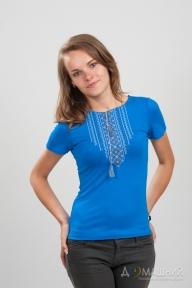 Вышитая футболка Орнамент синяя 1736