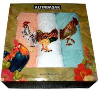 Набор кухонных махровых полотенец из 3 штук Altinbasak петух horoz s-b-y