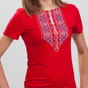 Вышитая футболка Орнамент красная 1736