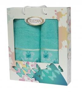 Набор полотенец из хлопка ТМ Gulcan 2 шт Cotton Butterfly Turquoise 2