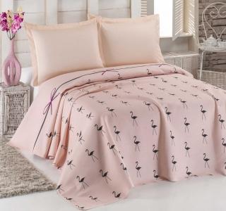 Подростковое постельное бельё Пике с покрывалом ТМ Eponj Home ранфорс Flamingo Pudra