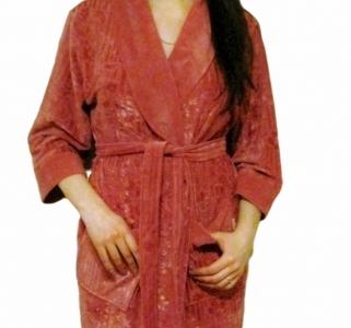 Халат велюровый ТМ Nusa темно-сиреневый женский