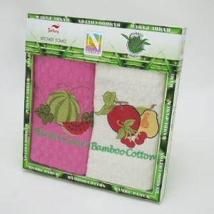 Набор полотенец кухонных ТМ Nilteks Bamboo-Cotton Fruits 2шт 40х60см розовое