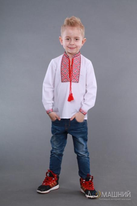 Вышиванка для мальчика 2006 красная из льна
