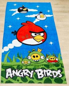 Полотенце велюровое пляжное Турция Angry Birds 75х150 см