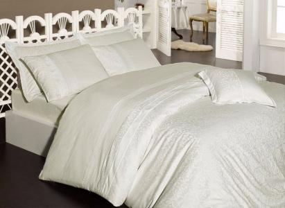 Постельное белье ТМ First Choice сатин-люкс Afrodit krem евро-размер