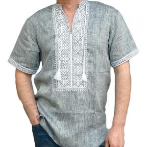 Вышиванка мужская короткий рукав серая с белой вышивкой 2003