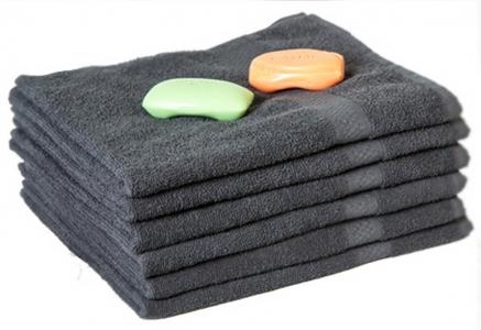 Махровое полотенце бордюром Узбекистан 360г/м2 серое 50x90см