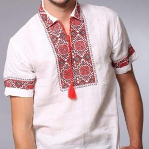 Вышиванка мужская короткий рукав белая с красно-черной вышивкой 2012