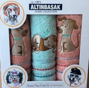 Набор полотенец кухонных с вышивкой ТМ Altinbasak 3 шт Kopek 30x50