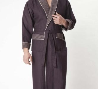 Халат вафельный бамбуковый ТМ Nusa коричневый мужской (NS 15120) размер XXL