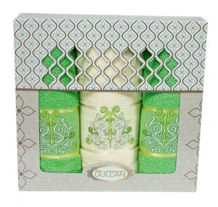 Набор полотенец из хлопка ТМ Gulcan 3 шт Cotton Venz зеленый