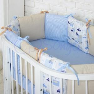 Бортик в кроватку с простыней ТМ Маленькая Соня Baby Design Премиум City