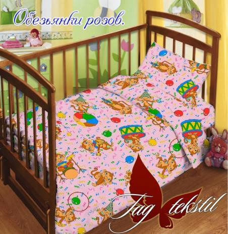Детский постельный комплект ТМ TAG Обезьянки розовые
