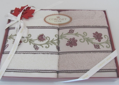 Набор махровых полотенец с вышивкой 2шт ТМ Arya Coronet