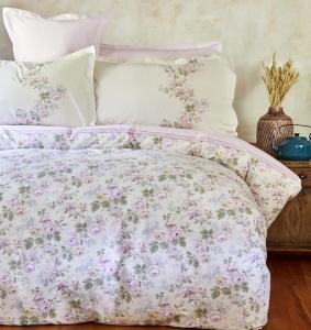 Постельное белье ТМ Karaca Home ранфорс Shale Lila евро-размер