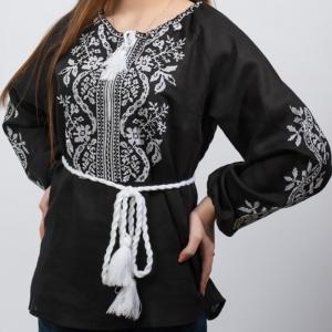 Женская вышиванка Волна черная с белым 1012.1