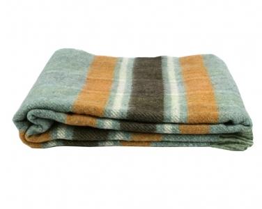 Плед шерстяной ТМ Vladi Уют бирюзово-оранжевый 140х200
