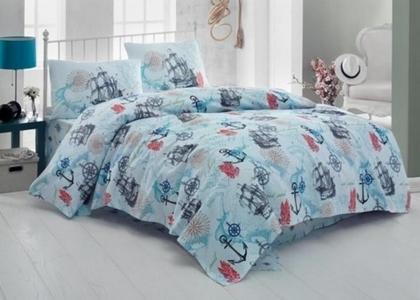 Постельное белье ТМ Eponj Home ранфорс Marine Turkuaz евро-размер