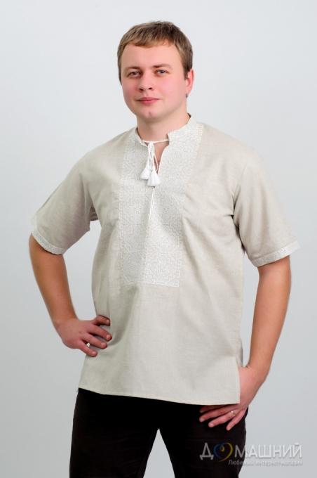 Вышиванка мужская три цвета серый лён с коротким рукавом 2003