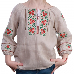 Вышиванка для девочки серый лен 4002