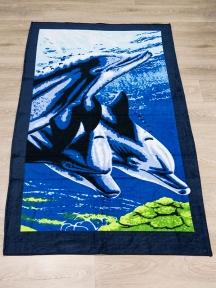 Полотенце велюровое пляжное Турция Three-Bolphins 75х150 см