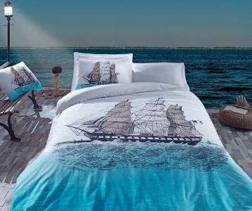 Постельное бельё ТМ Cotton Box ранфорс Ship Mavi евро-размер