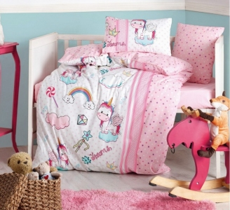Детский постельный комплект ТМ Cotton Box ранфорс Unicorn Pembe