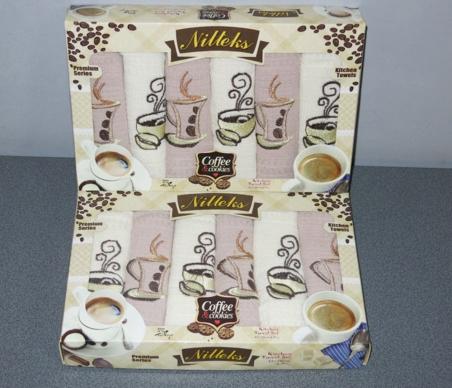 Набор полотенец кухонных ТМ Nilteks Кофе с печеньем 6шт. 40х60см