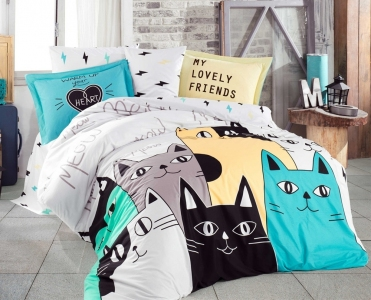 Постельное белье ТМ Hobby Poplin Love Cats желтое евро-размер