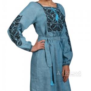 Платье Этно 1535 лен аква с черно-голубой вышивкой