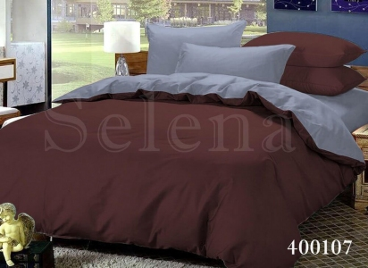 Постельное белье ТМ Selena поплин Шоколадно-Серый