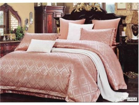 Постельное бельё ТМ Arya Pure Жаккард Layla pink евро-размер