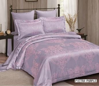 Постельное бельё ТМ Arya жаккард Pietra фиолетовый евро-размер