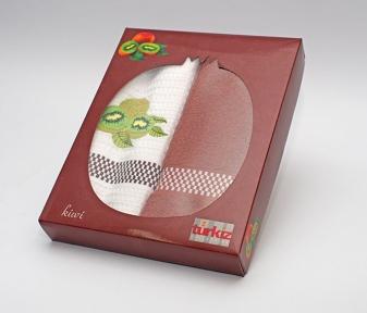 Набор полотенец кухонных Turkiz фрукты в коробке, 2шт 50х70 (вафельное и махровое)